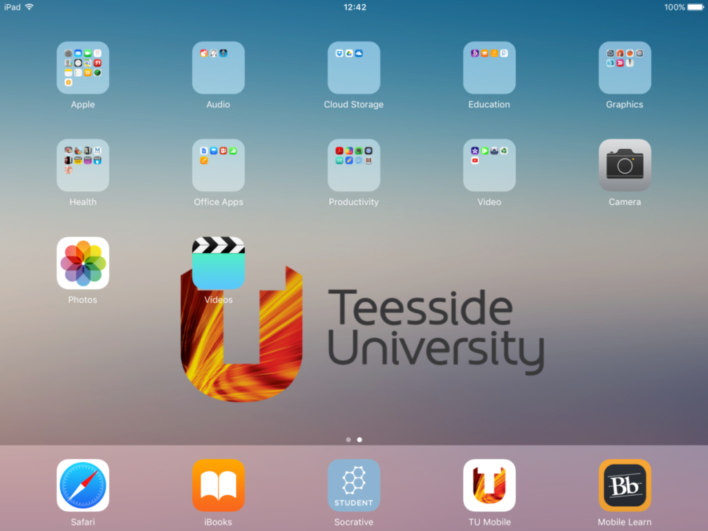 Supporting the use of mobile devices: iPad Home Screen
