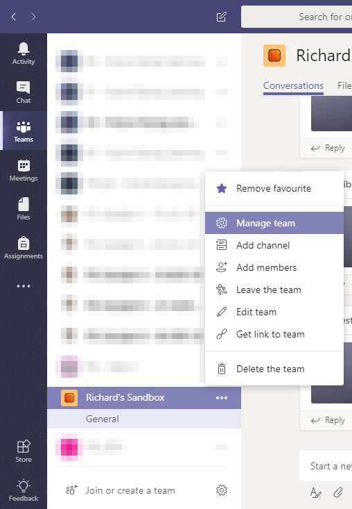A screenshot of the Microsoft Teams app showing the More options menu