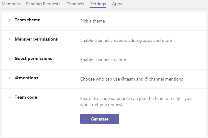A screenshot of the Microsoft Teams app showing the Settings area of a team