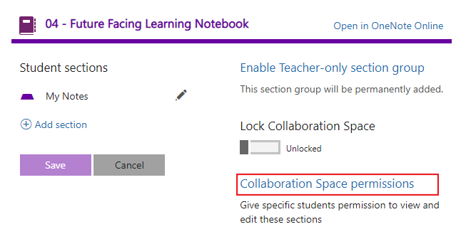 Setting up group permissions within Class Notebook Collaboration