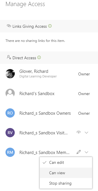 An image of the Mange Access panel in Microsoft Teams