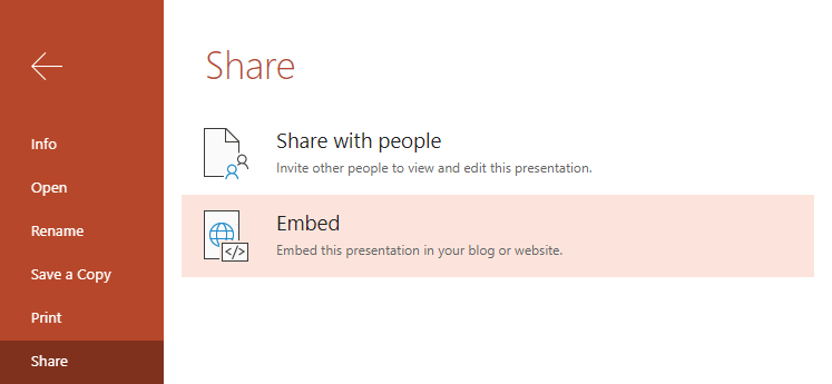 An image showing the sharing and embedding options of Office Online