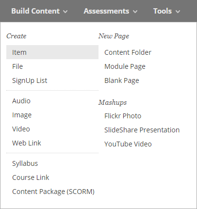 An image showing the Build Content options in Blackboard