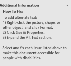 The Additional Information pane with how to fix instructions