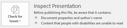 Inspect Presentation options