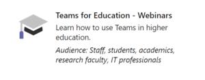 Teams for Education webinar series